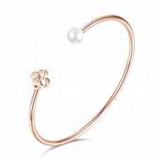Diamond and Freshwater Pearl Flower Bangle CTTW 0.015