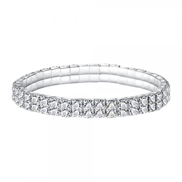 Double Row Tennis Bracelet made with Czech Crystals & Sterling Silver