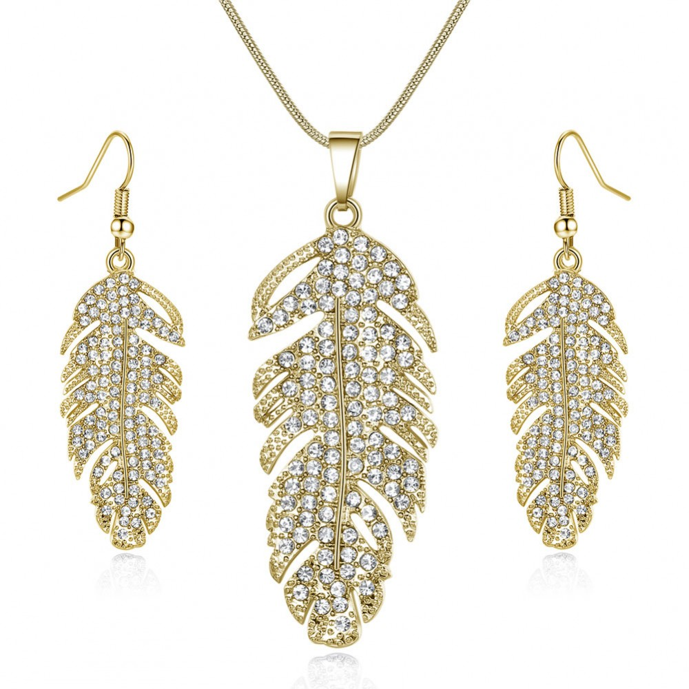 215550c2c12b7 FEATHER DROP EARRINGS & PENDANT SET Made with Crystals from Swarovski®