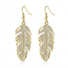 18k Rose Gold Plated Feather Drop Earrings Made with crystals from Swarovski®