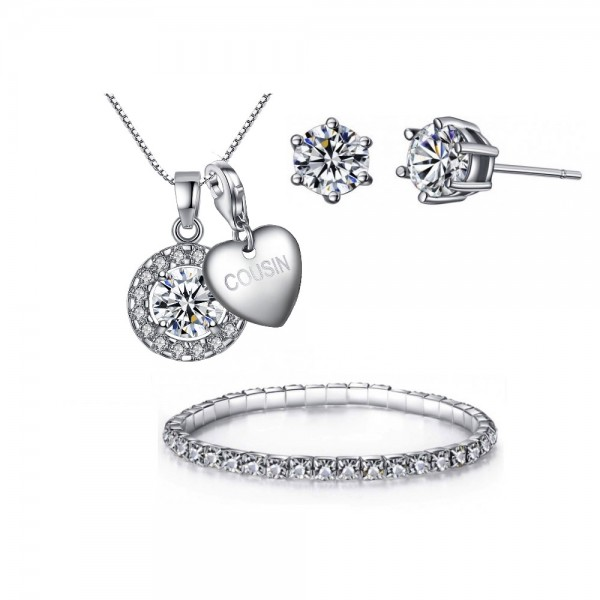 SOLITAIRE CIRCLE PENDANT, EARRING & BRACELET TRI-SET INCLUDING CHOICE OF CHARM