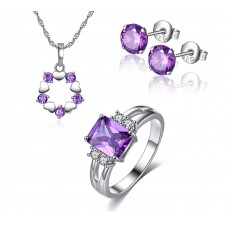Amethyst Simulated Sapphire Four piece Set