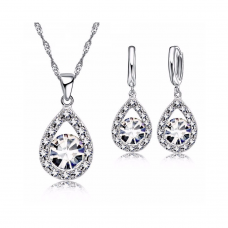 Crystal Pear Sapphire Sterling Silver Drop Set