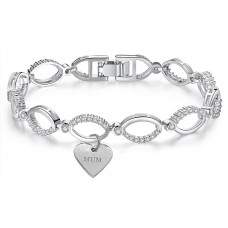 Crystal Hoop Link Bracelet & Mum Charm made with Crystals from Swarovski®