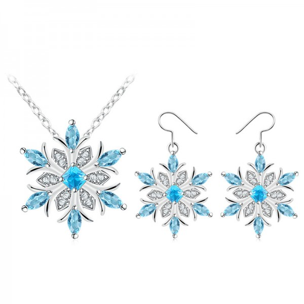 Blue Crystal Snowflake Set made with Crystals from Swarovski®