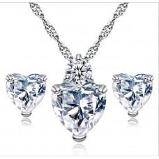 Crystal & Sapphire Heart Set
