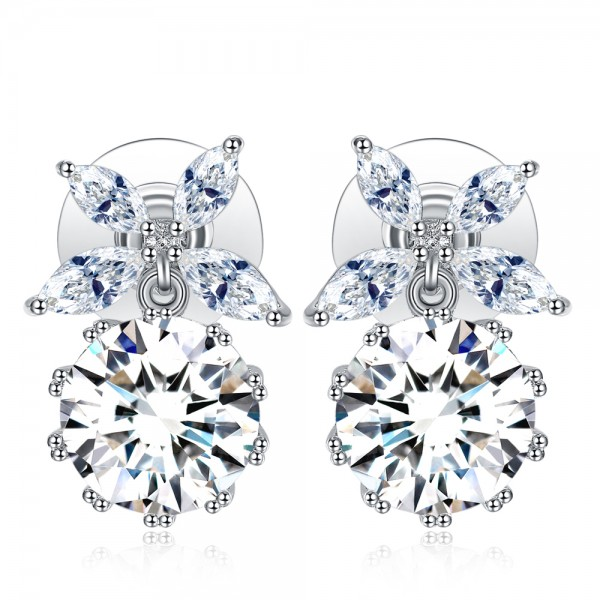 Petal Top Crystal Earrings