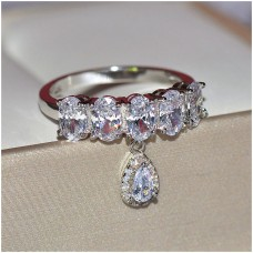 Crystal Zircon Drop Ring