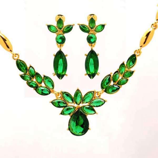 Gold Austrian Crystal Flower Earring & Necklace Set
