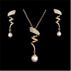 Crystal Spiral & Pearl Drop Set