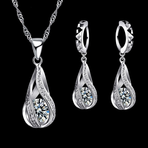 Geometric Crystal Drop Sterling Silver Set