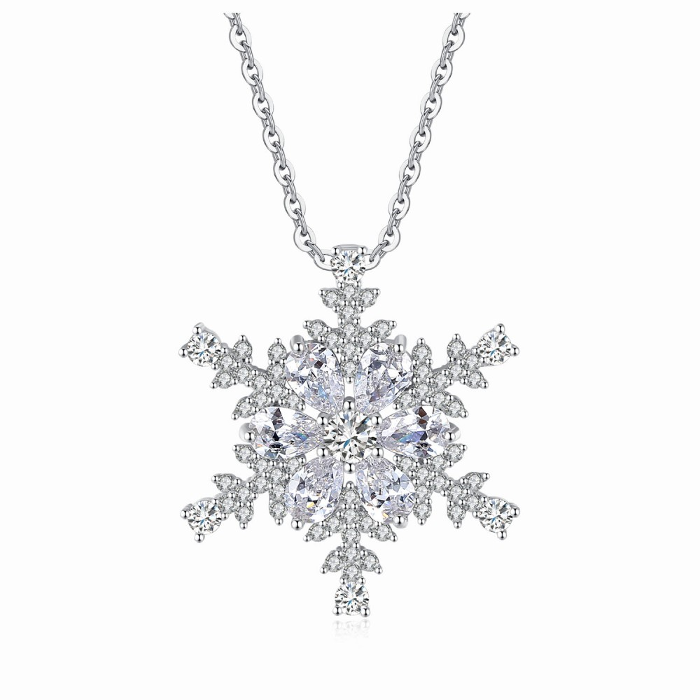 az bling snowflake winter holiday pendant hsh necklace jewelry large cz