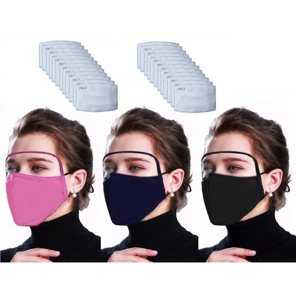 Mask with Visor 100% cotton with PM2.5 Filters – Washable