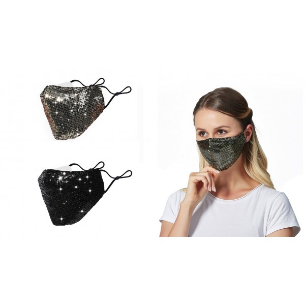 100% Cotton Washable Mask with Sequins