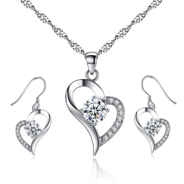 Heart Shaped Crystal & Rhodium Plated Plating made with crystals from Swarovski®