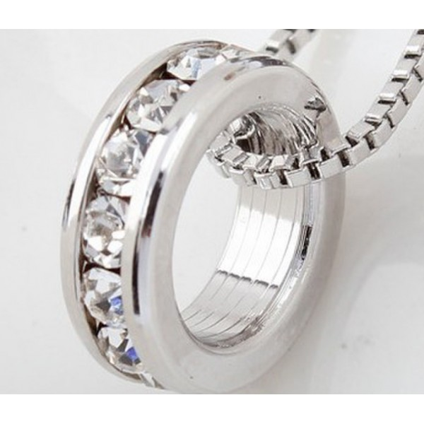 Rhodium Plated Ring Single Hoop Pendant Made with Cubic Zirconia Crystals