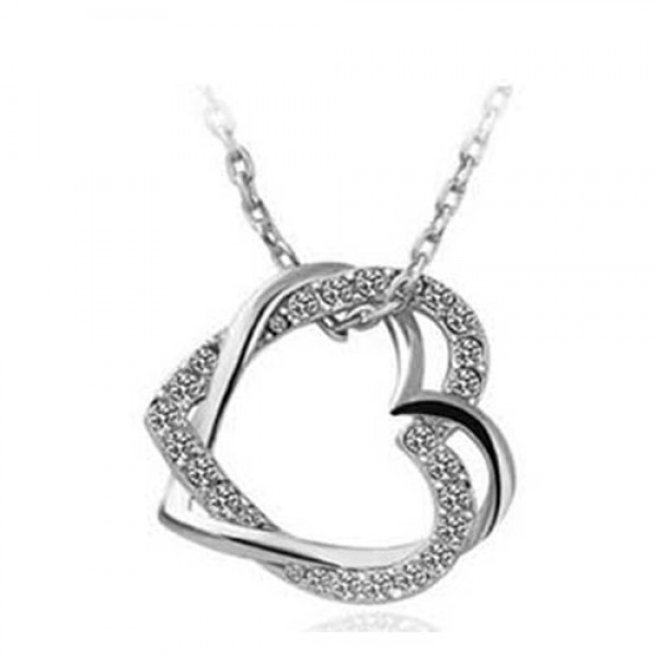 Rhodium Plated Twisted Heart Pendant Made with Czech Crystals