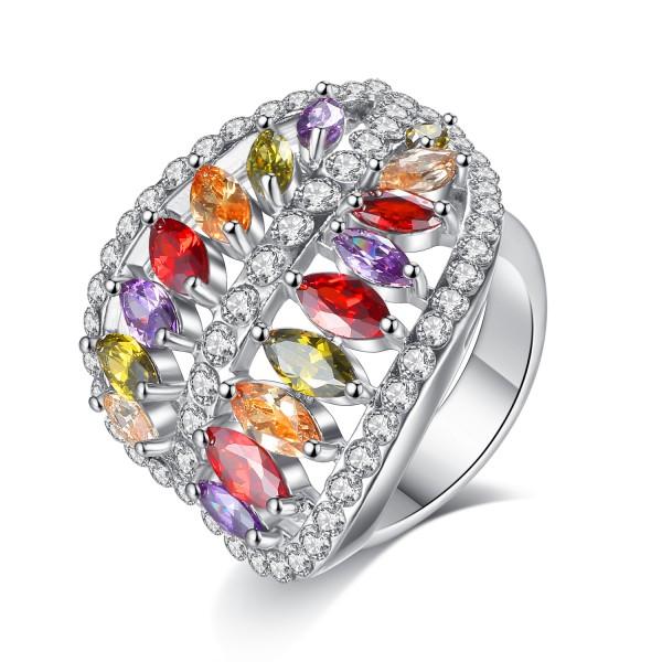 2.5 CARAT Marquis Cut Multi Coloured Lab-Created Sapphire Rhodium Plated Ring