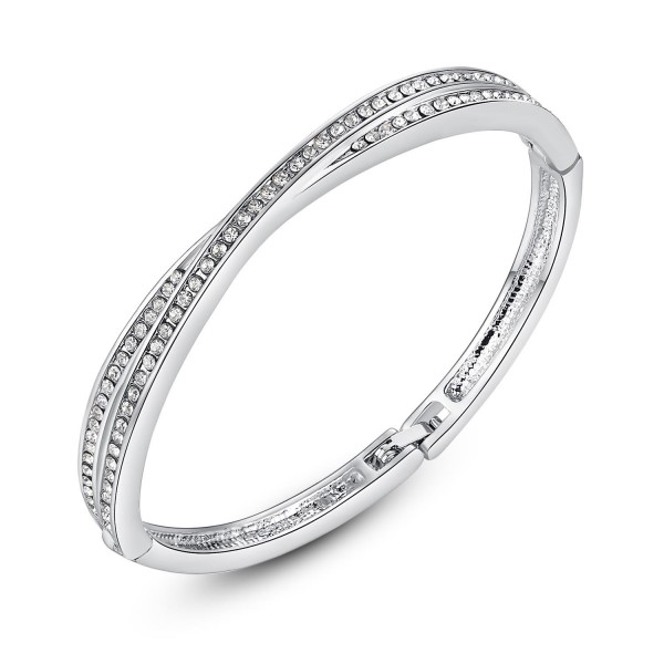 Swarovski® Cross Bangle Rhodium Plated