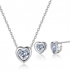 Crystal Heart Within A Heart Set Rhodium Plated