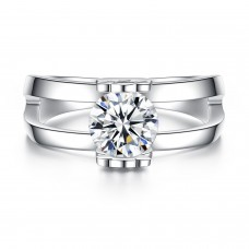 Crystal Engagement Ring Rhodium Plated