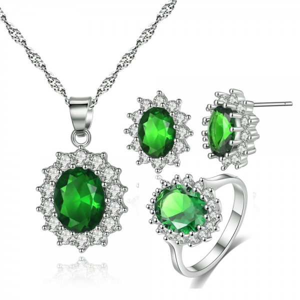 7.70 CTTW EMERALD GREEN SIMULATED SAPPHIRE SET