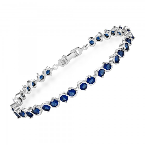 18K White Gold Plated Link Bracelet with Royal Blue Simulated Sapphire