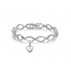 Crystal Hoop Link Bracelet & Mum Charm made with Crystals from Swarovski®