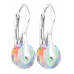 Rhodium Plated Briolette Round Earrings with Genuine 8mm Crystals from Swarovski®