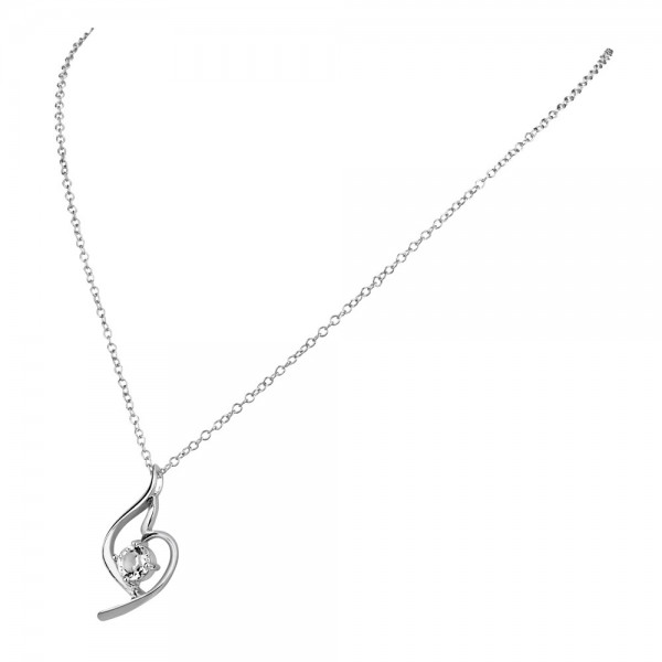 Clear Rhodium Plated Ring Swirl Pendant Made with Czech Crystals
