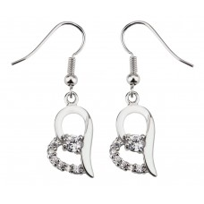 Heart Shaped Crystal & Rhodium Plated Plated Earrings with crystals from Swarovski®