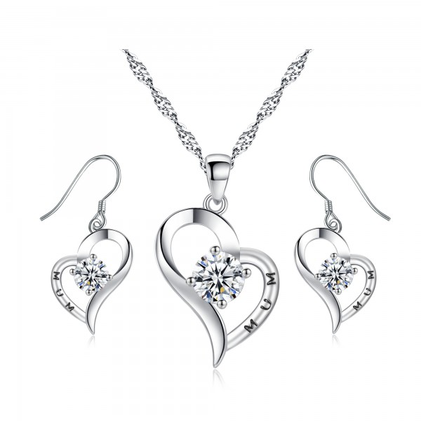 Heart Shaped Crystal & Rhodium Plated Plating Set for Mum with crystals from Swarovski®