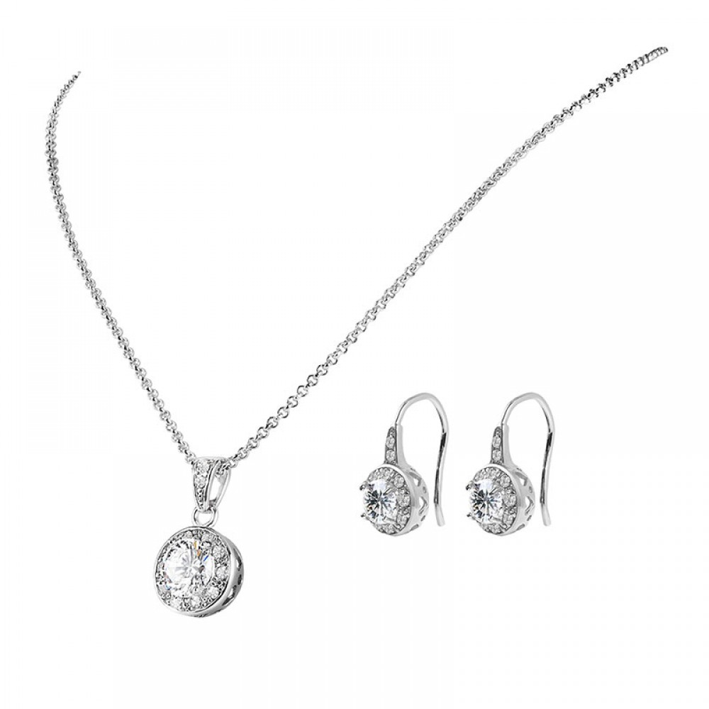 Set solitaire pendant drop earrings set with crystals from swarovski aloadofball Image collections