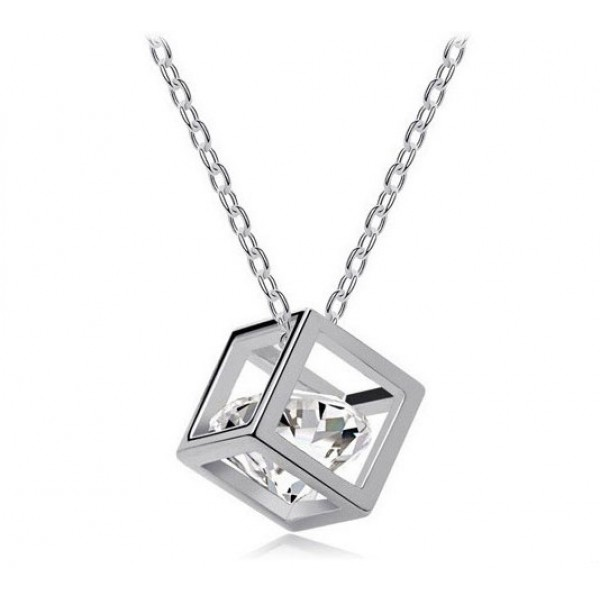 Rhodium Plated Crystal Cube Pendant