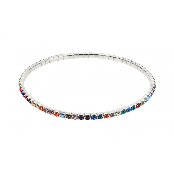 Single Row Multi Coloured Ankle Tennis Bracelet made with Cubic zirconia Crystals & Sterling Silver