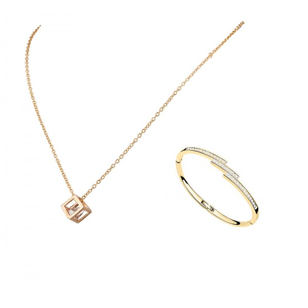 Rhodium Plated Crystal Cube Pendant and Gold plated Staggered Slim Line Bangle