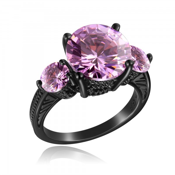 2.5 CARAT Brilliant Cut Pink Lab-Created Sapphire 10K Black Gold Filled Ring