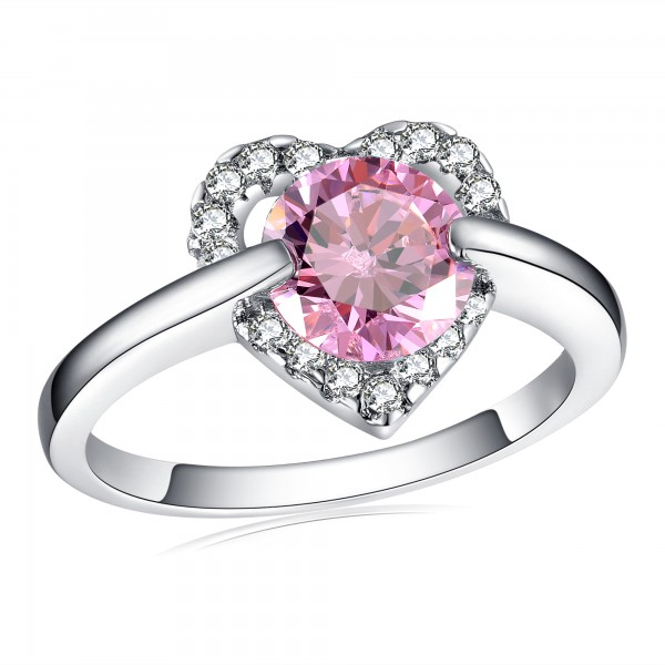 2.0 CARAT Brilliant Cut Pink Lab-Created Sapphire Rhodium Plated Ring