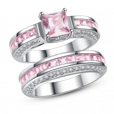 2.5 CARAT Pink Lab-Created Sapphire Princess Cut Rhodium Plated Ring