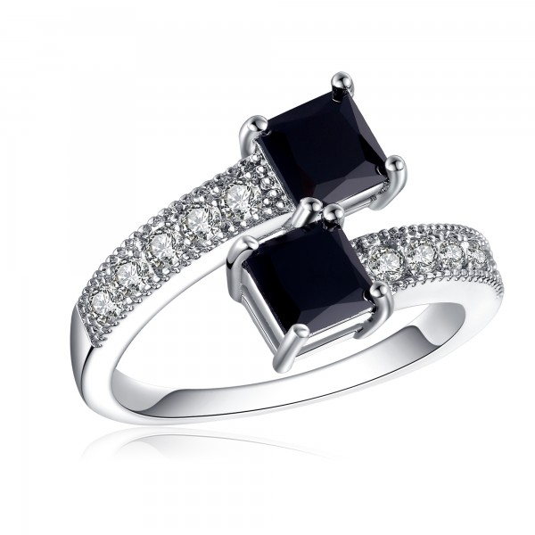 1.5 CARAT Brilliant Cut Black Lab-Created Sapphires Rhodium Plated Ring