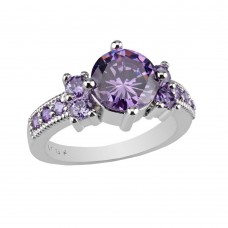 2.33 CARAT  Amethyst Brilliant Cut  Rhodium Plated Rings