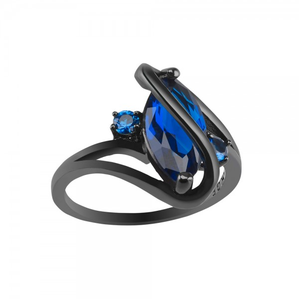 2.5 CARAT Marquis Cut Blue Lab-Created Sapphire 10K Black Gold Filled Ring