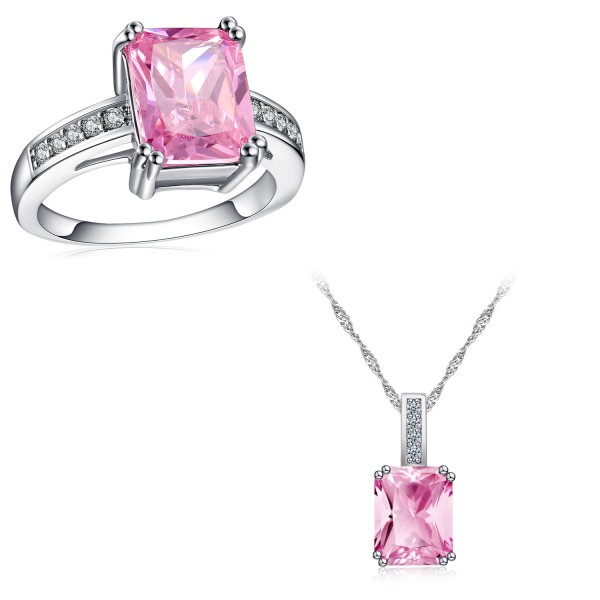 5.0 CARAT Emerald Cut Pink Lab-Created Sapphire Rhodium Plated Ring & Pendant Set