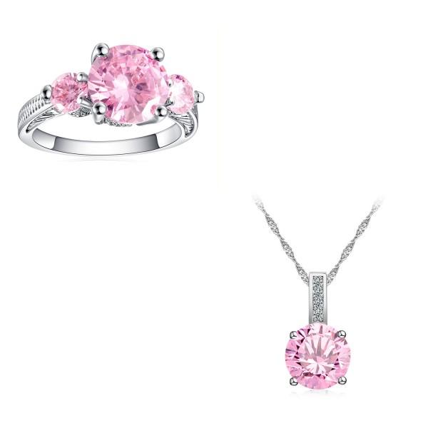 5.0 CARAT Brilliant Cut Pink Lab-Created Sapphire Rhodium Plated Ring & Pendant Set