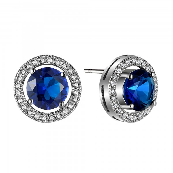 BRILLIANT CUT BLUE LAB-CREATED SAPPHIRE RHODIUM PLATED EARRINGS