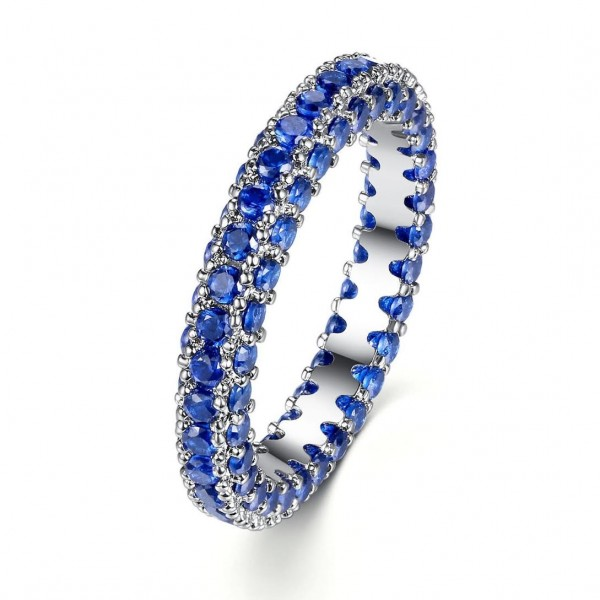 3.00CT Blue Lab-Created Sapphire Rhodium Plated Eternity Band