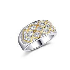 18ct Yellow Gold Plated & Rhodium Plated Mesh Ring With Lab-Created Sapphire Cluster