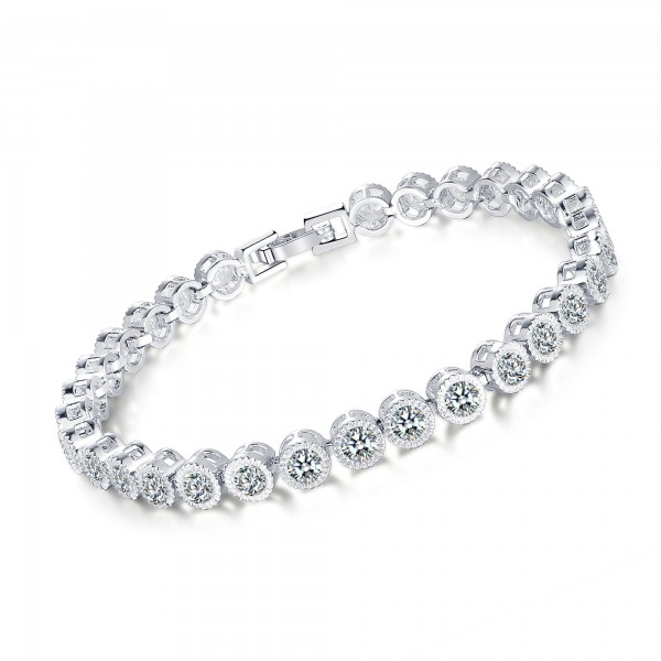 5ct Lab-Created Sapphire Rhodium Plated Bracelet