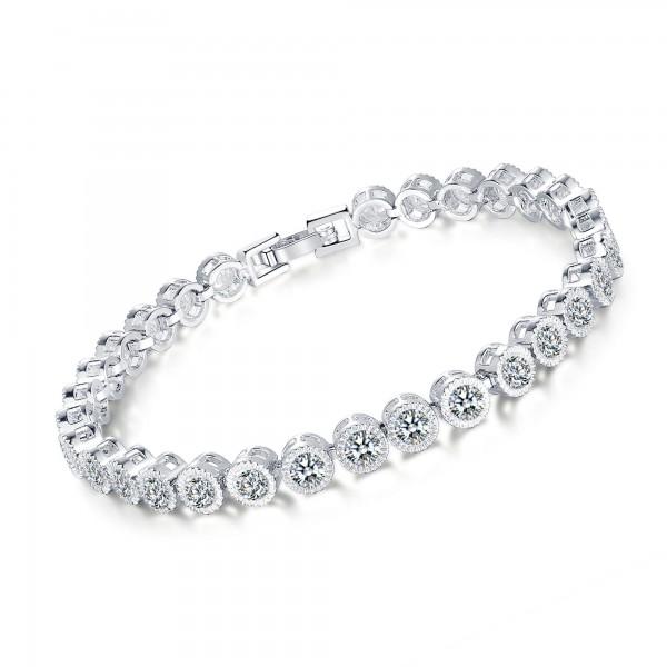 5ct Lab-Created Sapphire Rhodium Plated Bracelet