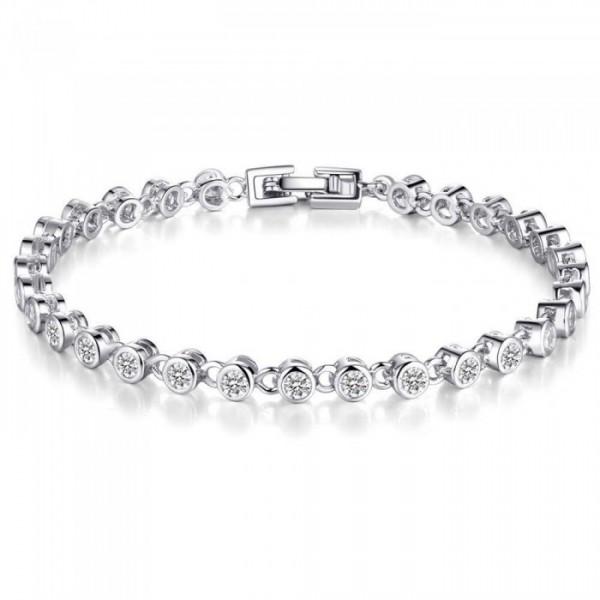 3ct Lab-Created Sapphire Rhodium Plated Bracelet